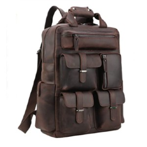 Polare Cowhide Leather Multiple Laptop Backpack - Best Backpacks for Teachers: Full Grain Leather with YKK Metal Zippers