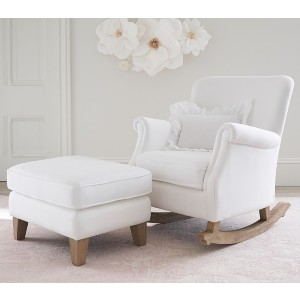 Potterybarn Minna Small Spaces Rocking Chair & Ottoman - Best Rocking Chair for Living Room: Extra Comfort with Ottoman