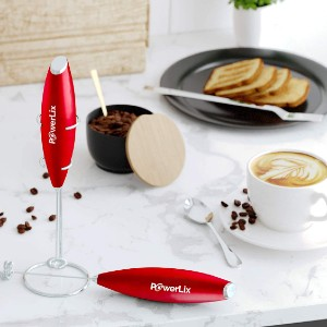 PowerLix Milk Frother Handheld Battery Operated - Best Milk Frother for Almond Milk: Quickly Milk Frother