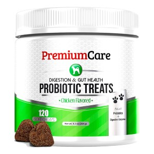 Premium Care Advanced Dog Probiotics + Digestive Enzymes - Best Dog Treats for Sensitive Stomachs: Suitable for All Lifestage of Dog