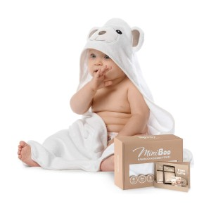 MINIBOO Premium Ultra Soft Organic Bamboo Baby Hooded Towel - Best Bath Towels for Baby: Extra Soft, Thick and Durable