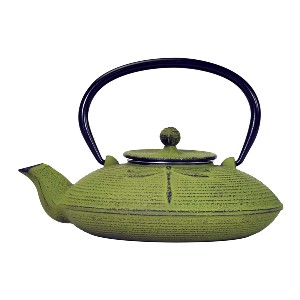 Primula Green Dragonfly Japanese Tetsubin Cast Iron Teapot - Best Teapot to Keep Tea Hot: Unique Teapot with Infuser