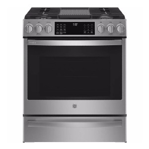 GE Profile 30 in. 5.6 cu. ft. Slide-In Gas Range - Best Ranges for Kitchen: Reversible griddle and grill