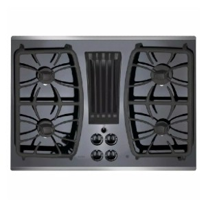 GE Profile 30 in. Gas-on-Glass DownDraft Gas Cooktop - Best Cooktops with Downdraft: Bye, bulky overhead ventilation!