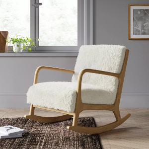 Project 62™ Esters Wood Armchair Sherpa White  - Best Rocking Chair for Nursery: Excellent Sherpa White