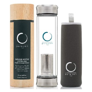 Pure Zen Tea Double Wall Glass Travel Tea Mug with Stainless Steel Filter - Best Travel Mugs for Tea: Double-walled odor-free glass