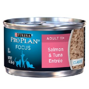 Purina Pro Plan Focus Adult 11+ Classic Salmon & Tuna Entree Canned Cat Food - Best Food for Old Cat: Formulation for Senior Cat