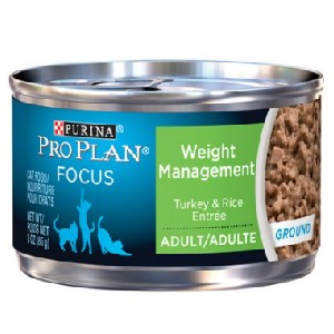 Purina Pro Plan Focus Adult Weight Management Ground Turkey & Rice Entree Canned Cat Food - Best Cat Food for Indoor Cats Vet Recommended: Weight Management Meal