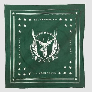 Reese Cooper RCI Deer Print in Green - Best Cotton Bandanas: Garment Dyed After Printing for Aged Effect