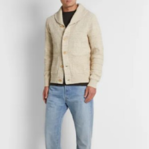 RRL Slim-Fit Shawl-Collar Cotton and Silk-Blend Cardigan - Best Cardigans for Men: Breathable and Soft Silk + Cotton Cardigan