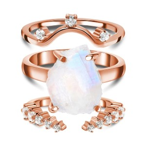 Moon Magic Raw Moonstone Ring & Archer Band & Cascade Band - Best Jewelry for Plus Size: Three in one