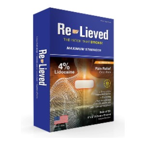 Re-Lieved Maximum Strength - Best Lidocaine Patches: Works in Minutes to Stop Pain