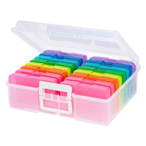 Recollections Photo Box & Craft Keeper  - Best Photo Storage Boxes with Dividers: Colorful set for colorful memories