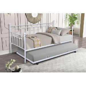 Red Barrel Studio® Anduena Twin Metal Daybed with Trundle - Best Daybeds with Trundles: Minimalist Daybed