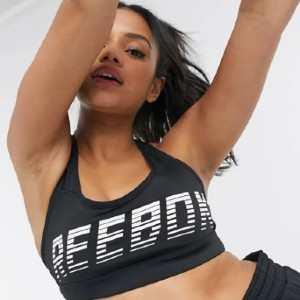 Reebok Hero racer padded sports bra in black - Best Sports Bra with Padding: Padded Cups and an Elasticated Underband Sports Bra