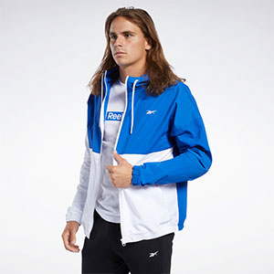 Reebok TRAINING ESSENTIALS LINEAR LOGO WINDBREAKER - Best Jacket for Wind: Windbreaker jacket with high neck
