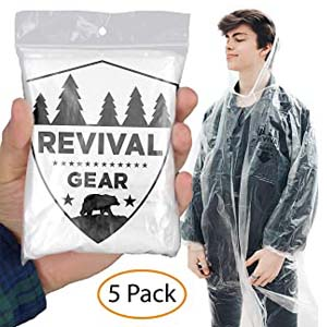 Revival Gear Rain Ponchos 5 Pack - Best Raincoats for Disney: You and your family are safe now