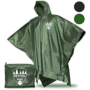 Revival Gear Reusable Rain Ponchos - Best Raincoats for Cycling: 3-in-1 rain poncho