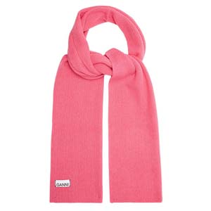 Ganni Ribbed wool-blend scarf - Best Scarves for Winter: Gorgeous in flattering pink
