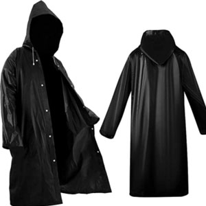 Roctee  Black Raincoat Portable Ponchos - Best Raincoats for Fishing: Long Cloth Style