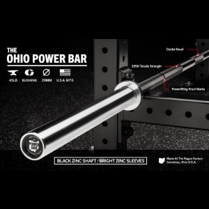 Rogue 45LB Ohio Power Bar - Black Zinc - Best Barbell for Bench Press: Superior performance