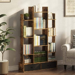 Rolanstar Bookshelf Bookcase with Drawer - Best Bookshelves on Amazon: Old-Time Classic Bookcase with Bottom Drawer