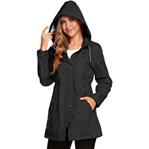 Romanstii Womens Waterproof Rain Jacket Hooded Raincoat - Best Raincoats with a Suit: Keeps you dry, neat and chic