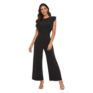 Romwe Women's Sleeveless Ruffle Trim Jumpsuit - Best Jumpsuits for Petites: Great for party