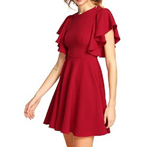 Romwe Women's Swing Flared Skater Party Dress  - Best Party Dresses for Teenage Girl: You'll love the way this fits