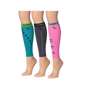 Ronnox Women's 3-Pairs Bright Colored - Best Leg Compression Sleeves: Compression Improves Blood Flow