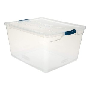 Rubbermaid Cleverstore Clear 71 QT  - Best Storage Containers for Books: Extra large container