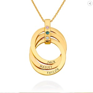 My Name Necklace Russian Ring Necklace with Birthstones - Best Personalized Jewelry for Moms: Highly customizable
