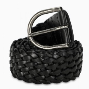 Saint Laurent Black braided belt - Best Belts for Women's Jeans: Simple Braided Leather Belt
