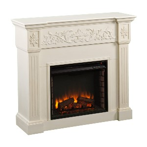 SEI Furniture Calvert Electric Carved Floral Trim Fireplace - Best Electric Fireplace with Mantel: Luxury without expensive prices tag