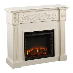 SEI Furniture Calvert Electric Carved Floral Trim Fireplace - Best Electric Fireplace for Bedroom: Best luxe pick
