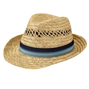 San Diego Hat Mens Seagrass Fedora - Best Beach Hat Men: With Blue Ombre Grosgrain Band