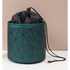 Shein Geometric Pattern Cosmetic Drawstring Storage Bag - Best Makeup Organizer Bag: One Big Slot for All Essentials