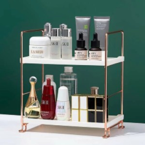 Shein High-Polish Double Layer Cosmetic Storage Rack - Best Makeup Storage: Minimalist Storage Rack