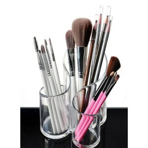 Shein Clear Cosmetic Storage Box - Best Makeup Brush Holder: Simple Acrylic Brush Organizer