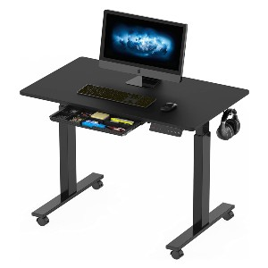 SHW  Electric Height Adjustable Mobile Standing Desk - Best Standing Desk with Storage: Lot of Storage Options