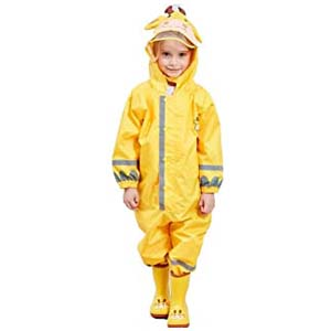 SSAWcasa One Piece Rain Suit Kids - Best Raincoats for Toddlers: Cute plus big clear brim in hood