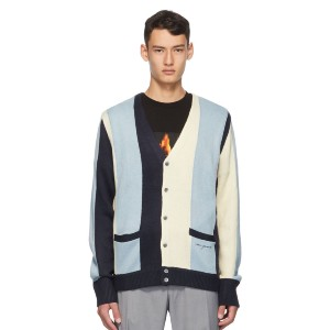 NOON GOONS Blue & White Striped 'The Droogs' Cardigan - Best Cardigans for Men: Multi-Color Acrylic Cardigan