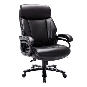 STARSPACE High Back Big & Tall 400lb Bonded Leather Office Chair - Best Office Chair Under $500: Large Seating Cushion