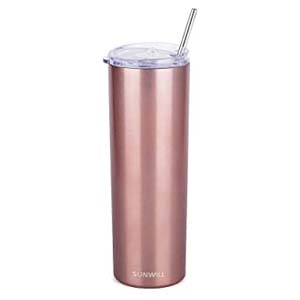 SUNWILL Straw Tumbler Skinny Travel Tumbler - Best Tumbler for Cold Drinks: Portable and spill proof