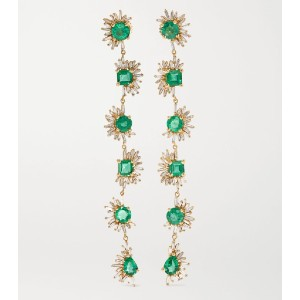 SUZANNE KALAN 18-karat gold, emerald and diamond earrings - Best Earrings for Round Face: Emeralds and Diamond Drop Earrings