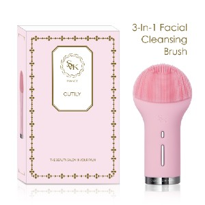 SVK CUTILY 3-In-1 Sonic Facial Cleansing Brush Silicone - Best Silicone Face Cleansing Brush: Waterproof Electric Cleansing Brush
