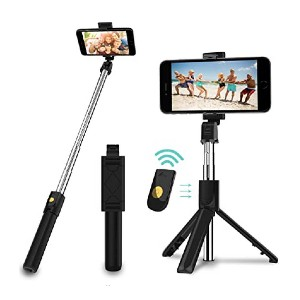 SYOSIN 3 in 1 Extendable Selfie Stick Tripod - Best Selfie Stick Tripods for Smartphone: Detachable remote controller