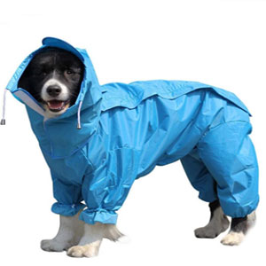 SZFY Waterproof Rain Jacket with Hood - Best Raincoats for Dogs: Convenient Hole for Male Dog Pee