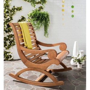Safavieh Outdoor Living Sonora Brown Eucalyptus Wood Rocking Chair - Best Rocking Lawn Chair: Curved Seat Rocking Chair