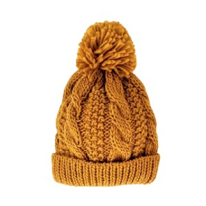 HUGGALUG Saffron Gold Cable Beanie - Best Beanies for Babies: A Slouchy Style with A Fluffy Pom Pom